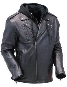 Black Leather Hooded Jacket Mens